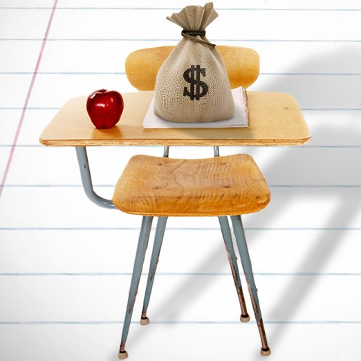 Student desk with money bag and apple